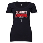 Germany 2014 FIFA World Cup Brazil(TM) Women's Champions Logotype Scoopneck T-Shirt (Black)