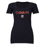 China FIFA Women's World Cup Canada 2015(TM) Women's Scoopneck T-Shirt (Black)