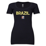 Brazil FIFA Women's World Cup Canada 2015(TM) Women's Scoopneck T-Shirt (Black)