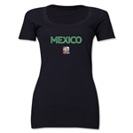 Mexico FIFA Women's World Cup Canada 2015(TM) Women's Scoopneck T-Shirt (Black)