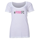 Pink FC Women's Scoopneck T-Shirt (White)
