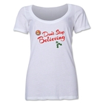FC Santa Claus Don't Stop Believing Women's Scoop Neck T-Shirt (White)