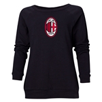 AC Milan Logo Women's Crewneck Fleece (Black)