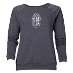 AC Milan Distressed Logo Women's Crewneck Fleece (Dark Gray)