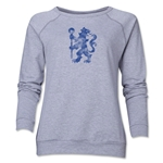 Chelsea Distressed Lion Women's Crewneck Fleece (Gray)