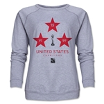 USA Women's World Cup Champions Women's Crewneck Fleece (Gray)