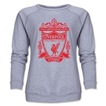 Liverpool Distressed Crest Women's Crewneck Fleece (Gray)