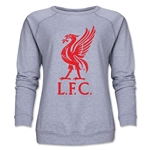 Liverpool Liver Bird Distressed Women's Crewneck Fleece (Gray)