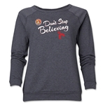 FC Santa Claus Don't Stop Believing Women's Crewneck Fleece (Dark Gray)