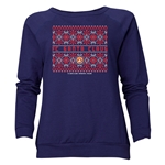 FC Santa Claus Christmas Sweater Women's Crewneck Fleece (Navy)