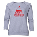 FC Santa Claus Kick with St. Nick Women's Crewneck Fleece (Gray)