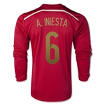 Spain 2014 A. INIESTA LS Home Soccer Jersey