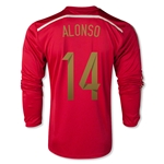 Espana 2014 ALONSO Jersey de Futbol Local (mangas largas)