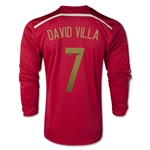 Espana 2014 DAVID VILLA Jersey de Futbol Local (mangas largas)