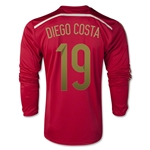 Espana 2014 DIEGO COSTA Jersey de Futbol Local (mangas largas)