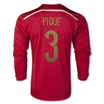 Espana 2014 PIQUE Jersey de Futbol Local (mangas largas)