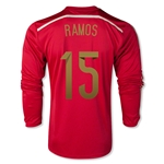 Spain 2014 RAMOS LS Home Soccer Jersey