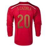 Spain 2014 S. CAZORLA 20 LS Home Soccer Jersey
