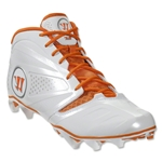 Warrior Burn 7 Mid Lacrosse Cleats (White/Orange)