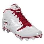 Warrior Burn 7 Mid Cleat (White/Red)