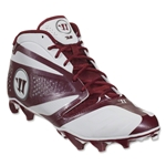 Warrior Burn 7 Mid Cleat (White/Maroon)