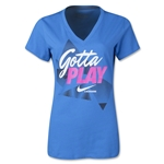 Nike Lax Dri-FIT Cotton V-Neck T-Shirt (Blue)