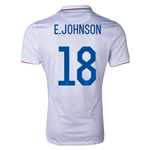 USA 2014 E. JOHNSON Authentic Home Soccer Jersey