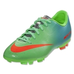 Nike Mercurial Victory IV FG KIDS Cleats (Neo Lime/Metallic Silver/Polarized Blue)