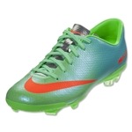 Nike Mercurial Veloce FG KIDS Cleats (Neo Lime/Metallic Silver/Polarized Blue)