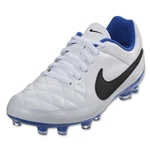 Nike Junior Tiempo Genio Leather FG (White/Treasure Blue)