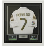 Icons Cristiano Ronaldo Signed Real Madrid 11/12 Home Soccer Jersey (Framed)