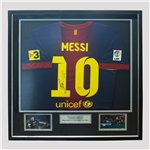 ICONS Messi Signed Barcelona 12/13 Home Soccer Jersey (Framed)