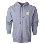 Aston Villa Distressed Club Logo Full Zip Hooded Fleece (Gray)