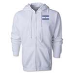 Argentina Flag Full Zip Hooded Fleece (White)