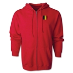 Belgium Flag Full Zip Hooded Fleece (Red)