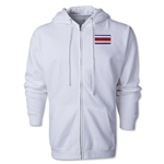 Costa Rica Flag Full Zip Hooded Fleece (White)