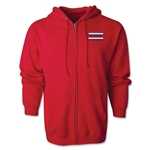 Costa Rica Flag Full Zip Hooded Fleece (Red)