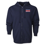 Costa Rica Flag Full Zip Hooded Fleece (Navy)