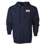 Croatia Flag Full Zip Hooded Fleece (Navy)