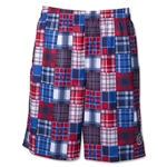 Warrior Caddy Madras Lacrosse Shorts (Royal/Red)