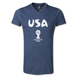 USA 2014 FIFA World Cup Men's Core V-Neck T-Shirt (Navy)