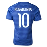 Brazil 2014 RONALDINHO Authentic Away Soccer Jersey