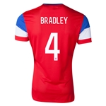 USA 2014 BRADLEY Authentic Away Soccer Jersey