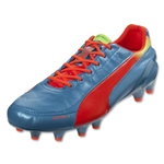 PUMA evoSPEED 1.2 FG Leather (Sharks Blue/Fluo Peach/Fluo Yellow)