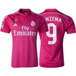 Real Madrid 14/15 BENZEMA Away Soccer Jersey w/ Club World Cup Badge