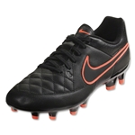 Nike Tiempo Women's Genio Leather FG (Black/Action Red/Bright Mango/Black)