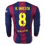 Barcelona 14/15 A. INIESTA LS Home Soccer Jersey