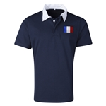 France Flag Retro Rugby Jersey (Navy)