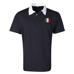 Italy Flag Retro Rugby Jersey (Black)