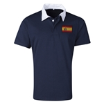 Spain Flag Retro Rugby Jersey (Navy)
